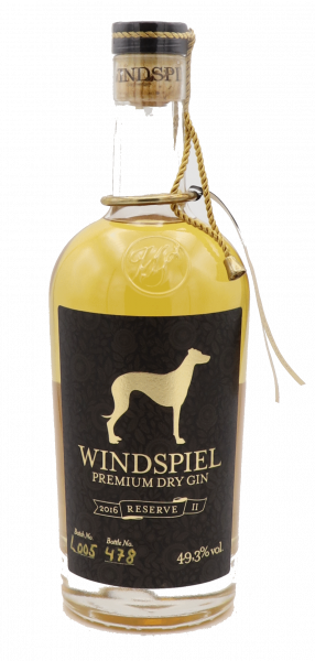 Windspiel Premium Dry Gin Reserve II 2016 in Holzbox 49,3%